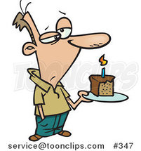 Grumpy Birthday Cartoon Guy Holding a Slice of Cake by Ron Leishman