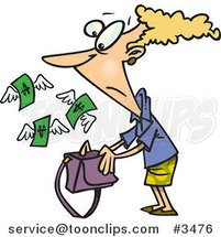 Cartoon Money Flying out of a Lady's Purse by Ron Leishman