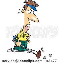 Cartoon Exhausted Golfer by Toonaday