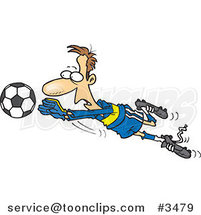 Cartoon Soccer Goalie Leaping Towards a Ball by Toonaday