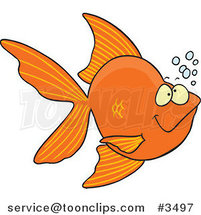 Cartoon Goldfish with Bubbles by Ron Leishman