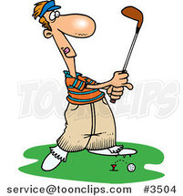 Cartoon Golfer Barely Knocking the Ball off the Tee by Ron Leishman