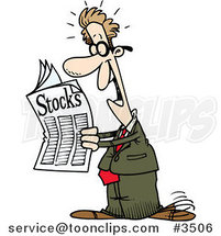 Cartoon Happy Guy Reading the Stocks Pages by Ron Leishman