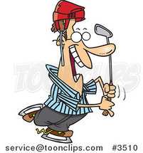 Cartoon Golfer Referee Wearing a Helmet by Ron Leishman