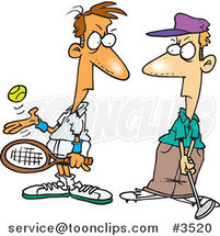Cartoon Tennis Player Glaring at a Golfer by Ron Leishman