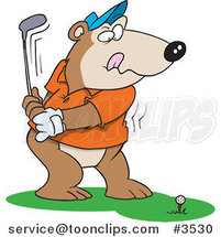 Cartoon Golfing Bear by Ron Leishman