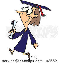 Cartoon Female College Graduate Walking by Ron Leishman