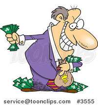 Cartoon Greedy Rich Business Man Holding His Money by Ron Leishman