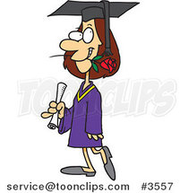 Cartoon Female College Graduate with a Rose in Her Mouth by Ron Leishman