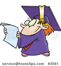 Cartoon Graduate Kid Reading a Certificate by Ron Leishman
