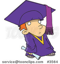 Cartoon Shy Graduate Boy by Ron Leishman