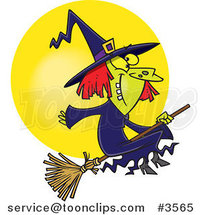 Cartoon Happy Witch on Her Broomstick by Ron Leishman