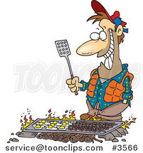 Cartoon Guy Cooking on a Griddle over a Camp Fire by Toonaday