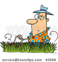 Cartoon Guy Mowing Tall Grass by Ron Leishman