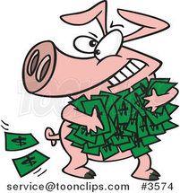 Cartoon Greedy Pig with Money by Toonaday