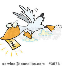 Cartoon Goose Flying with a Golden Ticket by Toonaday