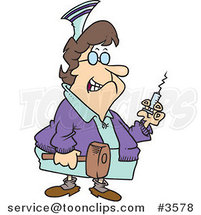 Cartoon Grim Nurse Holding a Syringe and Hammer by Ron Leishman