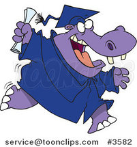 Cartoon Hippo Graduate Running by Ron Leishman