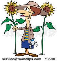 Cartoon Green Thumb Lady in Her Sunflower Gardener by Toonaday