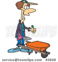 Cartoon Green Thumb Gardener with a Wheel Barrow by Toonaday