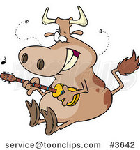 Cartoon Cow Guitarist by Ron Leishman