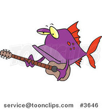 Cartoon Purple Fish Guitarist by Ron Leishman