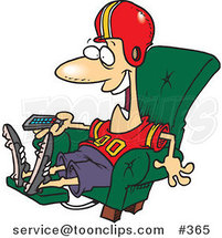 Cartoon Football Fan Watching TV in an Arm Chair by Ron Leishman