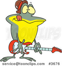 Cartoon Guitarist Frog by Ron Leishman