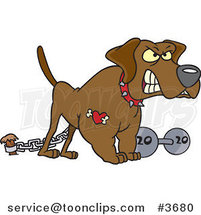 Cartoon Guard Dog with a Dumbbell by Ron Leishman
