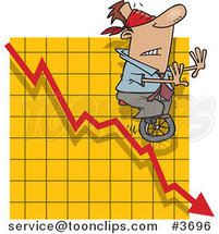 Cartoon Blindfolded Guy Unicycling down a Graph by Ron Leishman