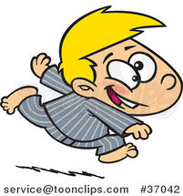 Cartoon Excited Boy Running in His Pajamas by Ron Leishman