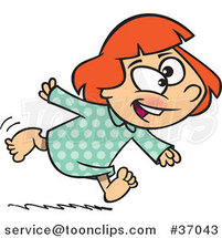 Cartoon Excited Girl Running in Her Pajamas by Ron Leishman