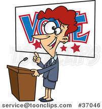 Cartoon Female Politician Giving a Speech Before an Election by Ron Leishman