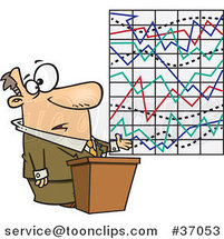 Cartoon Business Man Trying to Explain a Messed up Graph by Ron Leishman