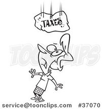 Cartoon Outlined Lady Under a Falling Taxes Boulder by Ron Leishman