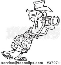 Cartoon Outlined Tourist Snapping Photographs by Ron Leishman
