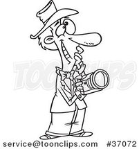 Cartoon Outlined Happy Photographer Thinking by Ron Leishman