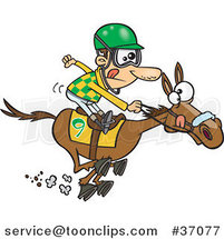 Cartoon Jockey Guy Racing a Horse by Toonaday