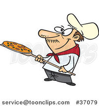 Cartoon Pizza Guy Holding a Pie by Ron Leishman