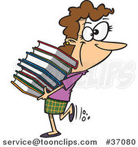 Cartoon Librarian or Heavy Reader Carrying a Large Stack of Books by Ron Leishman