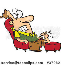 Cartoon Guy Resting His Wart Covered Foot by Ron Leishman