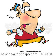 Cartoon Tired Guy Jogging by Ron Leishman