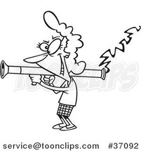 Cartoon Outlined Lady Scorned Shooting a Bazooka by Ron Leishman