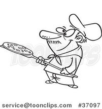 Cartoon Outlined Pizza Guy Holding a Pie by Ron Leishman