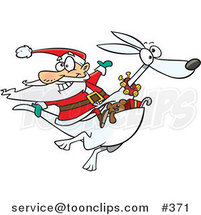Cartoon Santa Riding an Albino Kangaroo by Ron Leishman