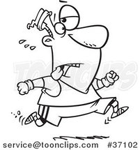 Cartoon Outlined Tired Guy Jogging by Ron Leishman