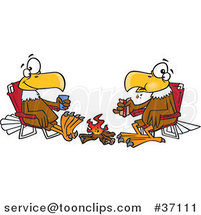 Cartoon Eagle Friends Eating Lunch by a Camp Fire by Ron Leishman