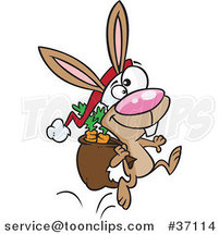 Cartoon Christmas Bunny Hopping with Carrots in His Sack by Ron Leishman