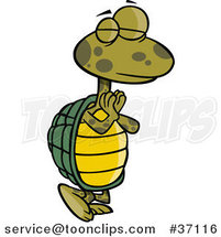 Cartoon Standing Yoga Tortoise in a Pose by Ron Leishman