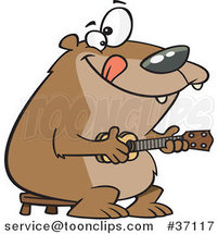 Cartoon Bear Playing a Ukelele by Ron Leishman